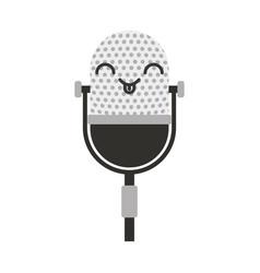 kawaii vintage microphone cartoon vector image