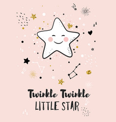 little star greeting card for baby shower vector image