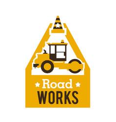 Logo paver road repair asphalt processing works vector
