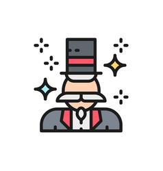 magician illusionist flat color line icon vector image