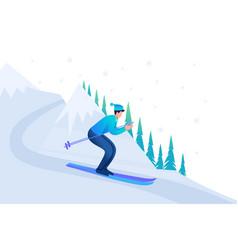man skiing in christmas vacation flat 2d character vector image
