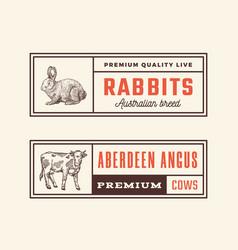 meat retro framed badges or logo templates set vector image
