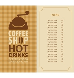 menu for a coffee shop vector image