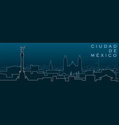 mexico city multiple lines skyline and landmarks vector image