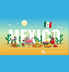 mexico colorful horizontal composition vector image