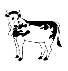 milch cow cartoon in black and white vector image