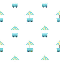 mobile cart with blue umbrella pattern seamless vector image