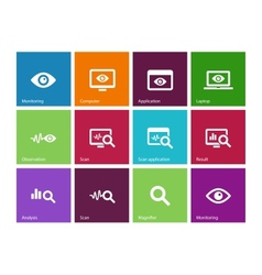 Monitoring icons on color background vector image
