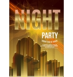 Night party gold flyer template - eps10 vector
