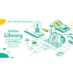 online library outline isometric education concept vector image