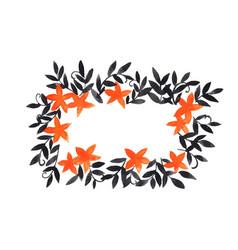 orange flower and ivy black leaf rectangle frame vector image