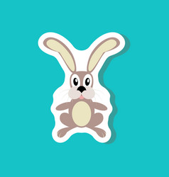 Paper sticker on stylish background toy hare vector