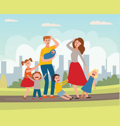 Parenting problem big family tired parents vector