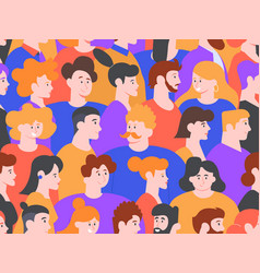 people portraits seamless pattern men and women vector image