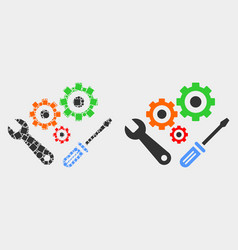 Pixelated and flat instrumental tools icon vector
