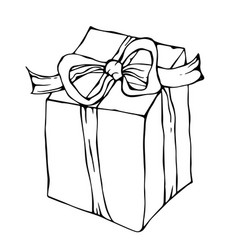 Present box with ribbon ink vector