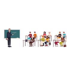 Pupils sitting at desks in classroom vector