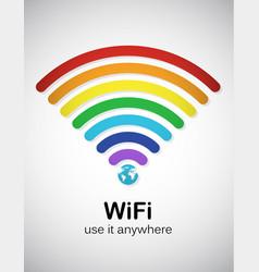 rainbow wifi vector image