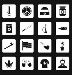 Rastafarian icons set squares vector