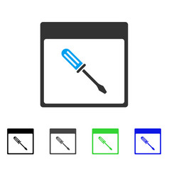 Screwdriver calendar page flat icon vector