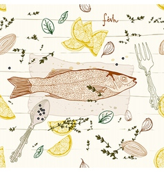Seamless Background with fish dish vector
