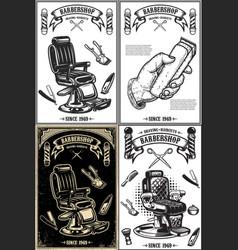 set barber shop poster templates design vector image