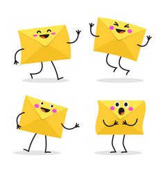 set cartoon character envelopes vector image