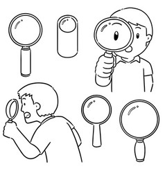 set magnifying glass vector image