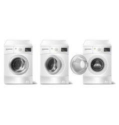 Set of 3d realistic washing machine vector
