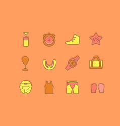 set simple line icons ufc vector image