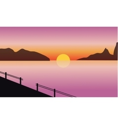 Silhouette of sea and mountain vector image