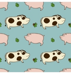 simple seamless pattern with pig boar and vector image