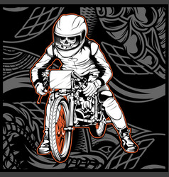 Skull riding a motorcycle ready for race vector