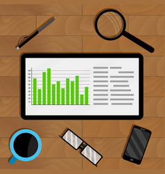 statistics in electronic form on tablet vector image vector image
