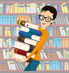 Student in glasses with books vector