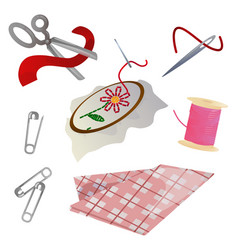 tailoring and hobby items set vector image