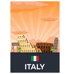 Travel poster to italy flat vector