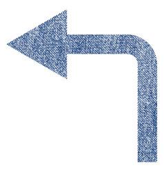 Turn left fabric textured icon vector