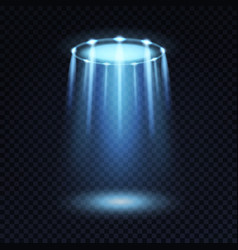 Ufo light alien spaceship magic bright blue vector
