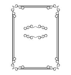 vintage calligraphic rectangle frame vector image