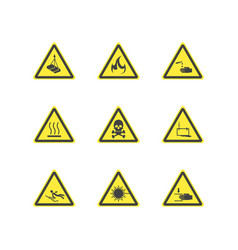 Yellow warning hazard attention signs set vector