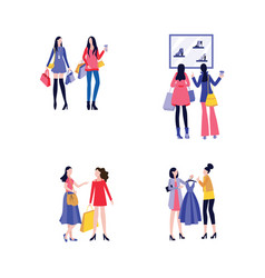 young female friends shopping together - set of vector image