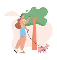 Young girl walking dog and listening music on vector