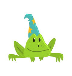 cute cartoon frog in blue carnival hat with yellow vector image
