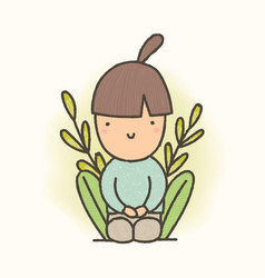 cute cartoon sitting girl vector image vector image