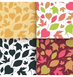 Falling leaves seamless patterns set vector image