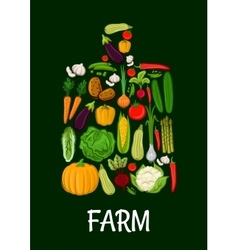 Farm vegetables emblem in shape of cutting board vector image vector image