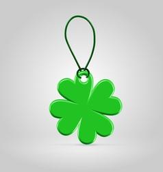 Green plastic shamrock leaf tag vector image vector image