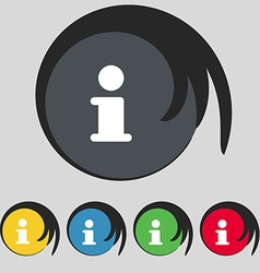 Information info icon sign symbol on five colored vector