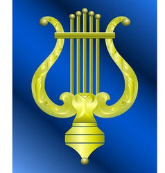 musical instrument lyre decorated with ornament vector image